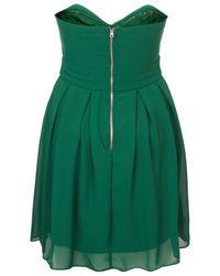 TOPSHOP | Green Boobtube Chiffon Dress By Tfnc | Lyst