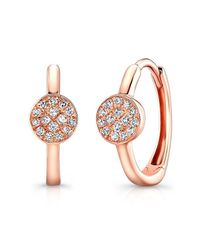 Anne Sisteron | Pink 14kt Rose Gold Diamond St. Tropez Mini Hoop Disc Earrings | Lyst