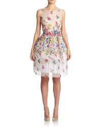 29eb10627d4 Lyst - Oscar de la Renta Floral Embroidered Silk Organza Dress in White