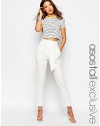 ASOS | Natural Tall Co-ord Belted Slim Leg Tailored Trouser | Lyst