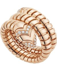 BVLGARI | Metallic Serpenti Tubogas 18kt Pink-gold And Diamond Ring | Lyst