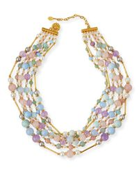 Jose & Maria Barrera | Multicolor Multi-Strand Pastel Beaded Necklace | Lyst