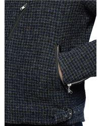 Sacai - Gray Detachable Vest Houndstooth Tweed Biker Jacket for Men - Lyst