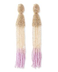 Oscar de la Renta   Multicolor Long Ombrebeaded Tassel Earrings Almondcreamlilac   Lyst