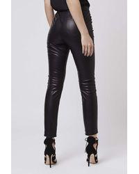 TOPSHOP - Black Petite Pu Skinny Trousers - Lyst