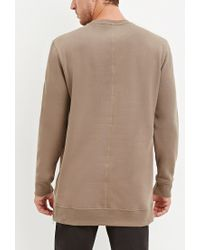 Forever 21 - Natural Longline Fleece Sweatshirt for Men - Lyst