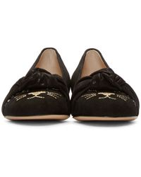 Charlotte Olympia - Black Studded Eccentric Kitty Flats - Lyst