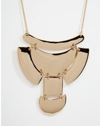 ASOS | Metallic Mixed Shape Geo Bib Necklace | Lyst