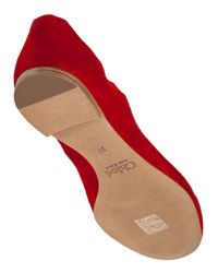 Chloé | Red CH24160 Scalloped Suede Ballet Flats | Lyst
