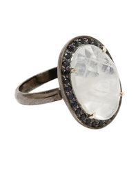 Adornia | White Moonstone And Blue Sapphire Perry Ring | Lyst