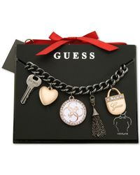 Guess | Black Two-tone Crystal And Enamel Charm Necklace | Lyst