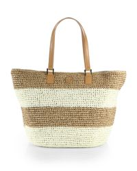 Tory Burch | Brown Chunky Striped Staw Tote | Lyst