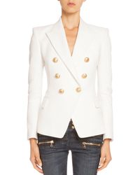 Balmain - White Double-breasted Tweed Jacket - Lyst