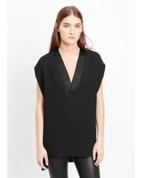 Vince | Black Satin Trim V-neck Blouse | Lyst