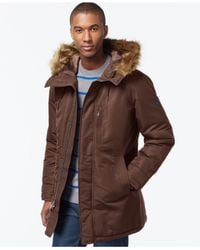Sean John - Brown Faux-fur-trim Hooded Long Parka for Men - Lyst