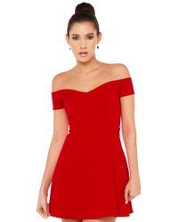 AKIRA - Scarlet Off Shoulder Red Dress - Lyst