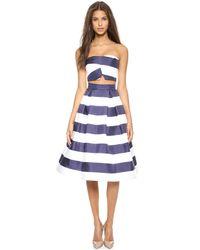 Nicholas - Blue Navy Stripe Silk Ball Skirt Navy White Stripe - Lyst