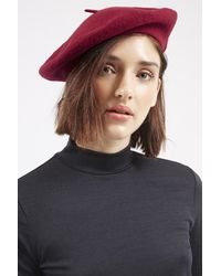 TOPSHOP - Red Wool Blend Beret Hat - Lyst