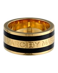 Marc By Marc Jacobs | Black Classic Marc Enamel Stripe Ring | Lyst