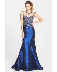 Mac Duggal - Blue Embellished Taffeta Gown - Lyst