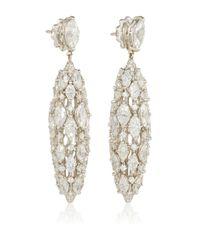 Sidney Garber | Metallic 18k White Gold And Diamond Torchere Earrings | Lyst