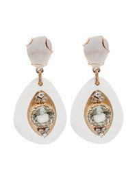 Federica Rettore | White Quartz And Dimond Drop Earrings | Lyst