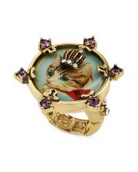 Betsey Johnson - Metallic Goldtone Crystal Kitty Cameo Stretch Ring - Lyst