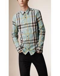 Burberry   Blue Check Stretch Cotton-blend Shirt for Men   Lyst