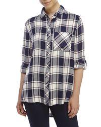 Kenneth Cole Reaction | Blue Patch Pocket Plaid Boyfriend Shirt | Lyst