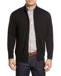 Peter Millar | Black Tipped Merino Wool Zip Front Cardigan for Men | Lyst