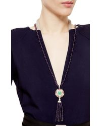 Abellan New York - Purple A One Of A Kind Art Deco-Inspired Diamond, Chrysoprase And Amethyst Tassel Pendant Necklace - Lyst
