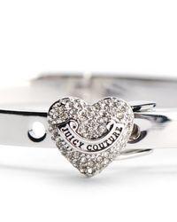 Juicy Couture | Metallic Pave Heart Hinge Bracelet | Lyst