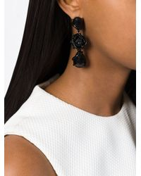 Oscar de la Renta - Black Rose Bud Drop Pendant Earrings - Lyst