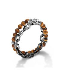 John Hardy | Brown Stainless Steel Double Wrap Link Bracelet for Men | Lyst
