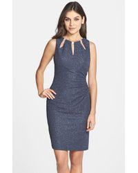 Eliza J | Blue Embellished Knit Sheath Dress | Lyst