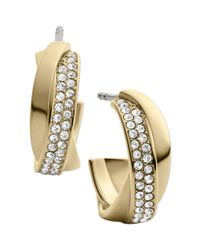 Michael Kors | Metallic Goldtone Crystal Twisted Hoop Earrings | Lyst