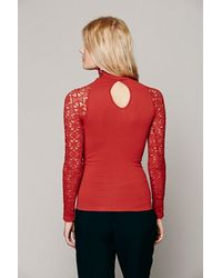 Free People - Red Womens Rib And Lace Turtleneck - Lyst