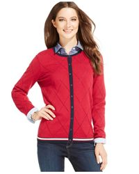 Tommy Hilfiger | Red Pointelle-knit Argyle Cardigan | Lyst