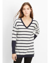 Vince | Blue Slub Cotton Block Stripe Slim V-neck Sweater | Lyst