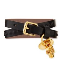 Alexander McQueen - Black Mens Doublewrap Leather Skull Bracelet - Lyst