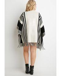 Forever 21 | Black Plus Size Mixed Stripe Fringed Poncho | Lyst