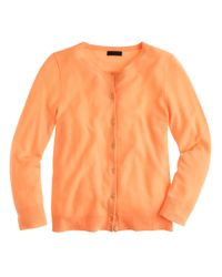 J.Crew | Orange Italian Featherweight Cashmere Cardigan Sweater | Lyst