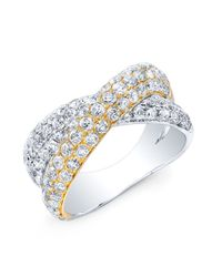 Anne Sisteron - Metallic 14kt Yellow And White Gold Diamond Twist Ring - Lyst