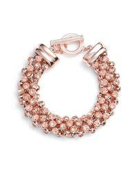 Anne Klein | Pink 'drama' Crystal Studded Bracelet | Lyst