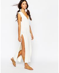 Daisy Street | Natural Plunge Neck Knit Dress | Lyst