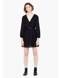 Mango - Black Belt Printed Dress - Lyst