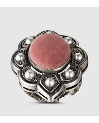 Gucci | Pink Ring With Velvet And Crystals | Lyst