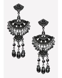 Bebe | Black Crystal Fan Earrings | Lyst