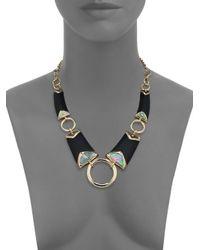 Alexis Bittar | Metallic Sport Deco Lucite & Black Mother-of-pearl Liquid Ring Bib Necklace | Lyst
