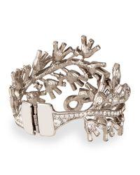 Oscar de la Renta | Metallic Floral Baguette Crystal Bracelet | Lyst